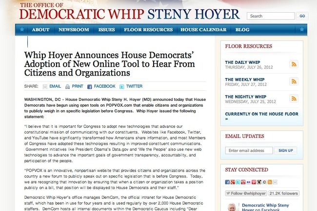 And Congress is paying attention. <br><a target='_blank' href='http://www.democraticwhip.gov/content/whip-hoyer-announces-house-democrats-adoption-new-online-tool-hear-citizens-and-organization'>http://www.democraticwhip.gov/content/whip-hoyer-announces-house-democrats-adoption-new-online-tool-hear-citizens-and-organization</a>