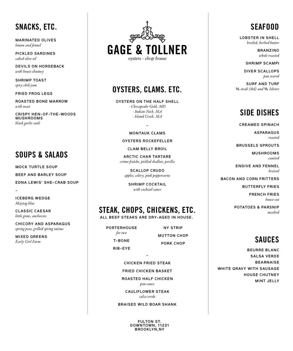 Gage & Tollner: Oyster & Chop House: A historic Brooklyn